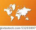 Detailed world map isolated on orange background 53203897