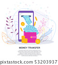 Cash transfer through online terminals finance concept 53203937
