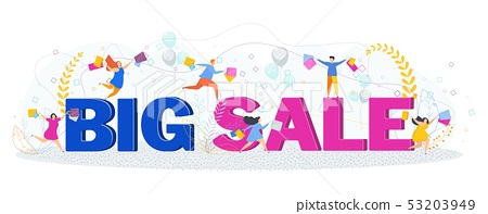 Big sale banner. Tiny people with shopping bag 53203949