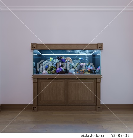Built-in aquarium with a cabinet under it in a 53205437