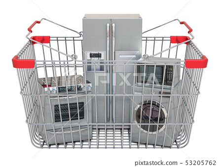 Shopping basket full of kitchen appliances 53205762