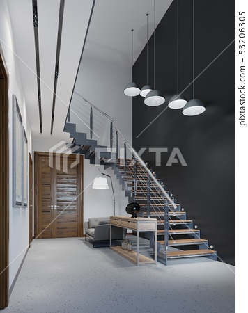 Staircase to the second floor in a modern 53206305