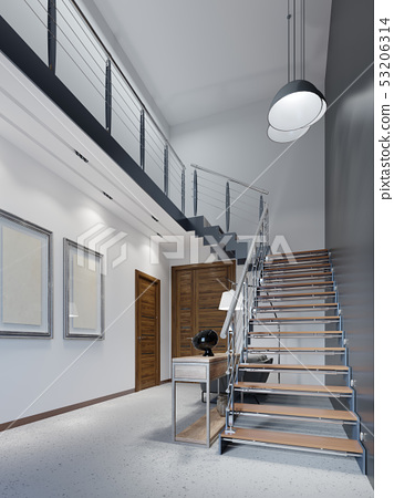Staircase to the second floor in a modern 53206314