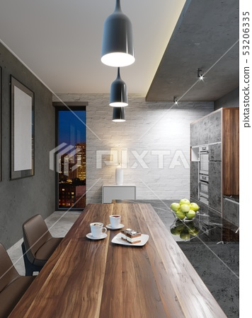 Dining table with wooden top, two cups of coffee 53206335