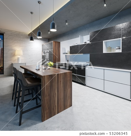 Bar counter with chairs in the kitchen in 53206345