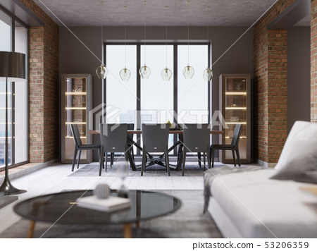 Cozy loft with dining table, chairs and storage 53206359