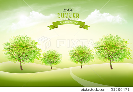 Beautiful summer nature background with a green 53206471