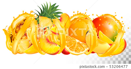 Fruit in juice splash panorama. Pineapple, mango, 53206477