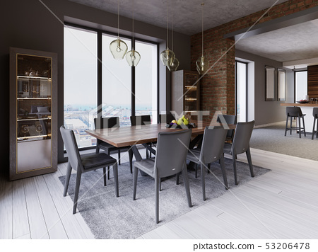 Cozy loft with dining table, chairs and storage 53206478