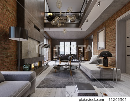 Modern Loft Living Room With High Ceiling Sofa Stock Illustration 53206505 Pixta