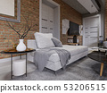 White sofa with side table with black lamp, on the 53206515