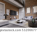 Led TV with TV stand on the background brick wall 53206677