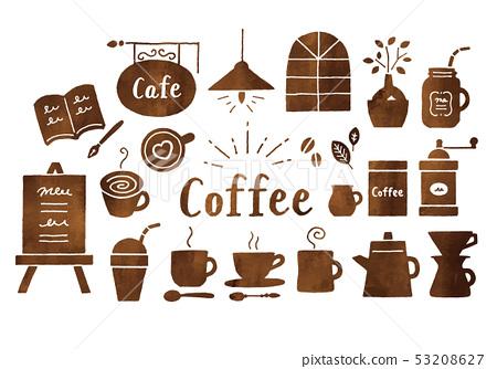 咖啡和咖啡館水彩棕色 53208627