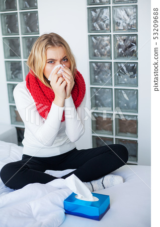 Fever And Cold. Portrait Of Beautiful Woman Caught Flu, Having Headache And High Temperature 53209688
