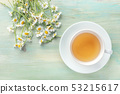 A cup of chamomile tea, shot from the top on a teal blue background with a bouquet of flowers and a 53215617