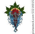 Koi fish with chrysanthemum vector tattoo  53216015