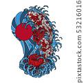 Koi fish with chrysanthemum vector tattoo  53216016