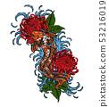 Koi fish with chrysanthemum vector tattoo  53216019