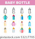 Baby Bottle, Childcare Equipment Vector Linear Icons Set 53217705
