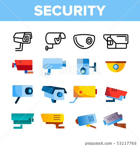 Modern Security Cameras Vector Color Icons Set 53217768