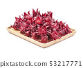 roselle in Wooden tray on white background 53217771