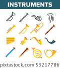 Wind Musical Instruments Vector Color Icons Set 53217786