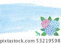 模擬水彩類型繡球花和雨和陰霾 53219598