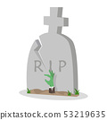 Illustration of gravestone with Zombie Hand 53219635