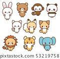 Cute illustrations of rabbit, bear, panda, cat, dog, fox, monkey, lion, tiger, elephant animal (with main line) 53219758