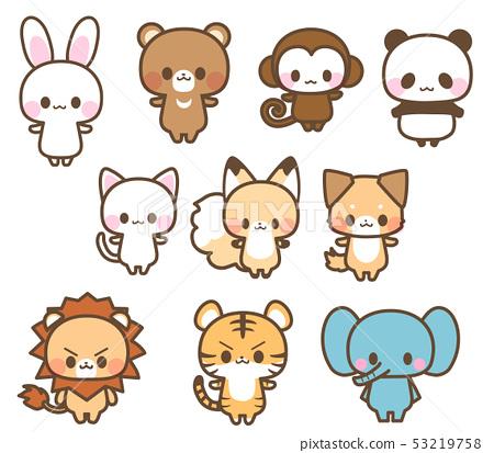 可愛插圖的兔子,熊,熊貓,貓,狗,狐狸,猴子,獅子,老虎,大象動物(與主線) 53219758