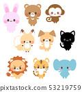 토끼 곰 · 원숭이 · 여우 · 개 · 검은 고양이 사자 호랑이 코끼리 동물의 귀여운 일러스트 53219759