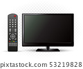 black TV with remote control 53219828