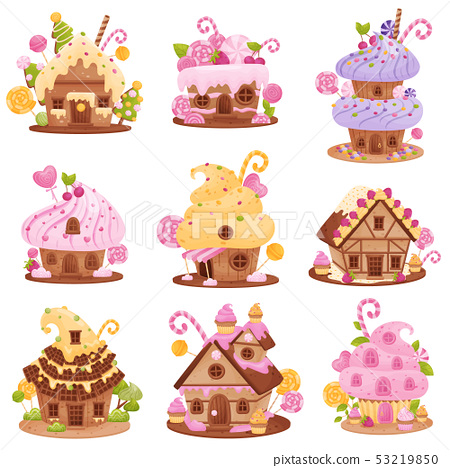 Set of different sweet houses. Vector illustration on white background. 53219850