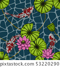 Koi fish with lotus leaf seamless pattern  53220290