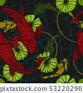 Koi fish with lotus leaf seamless pattern  53220296