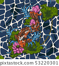 Koi fish with lotus seamless pattern by hand 53220301