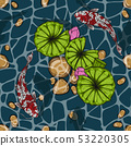 Koi fish with lotus leaf seamless pattern  53220305