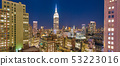 Sunset aerial view of Midtown Manhattan skyline 53223016