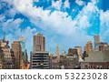 Sunset aerial view of Midtown Manhattan skyline 53223028