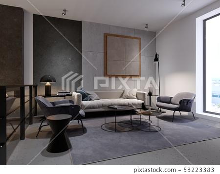 Contemporary recreation area with sofa, armchair 53223383