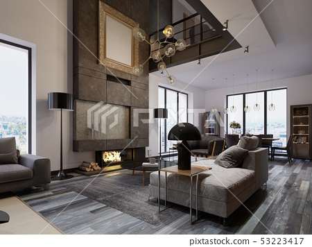 New design living room with a large fireplace to 53223417
