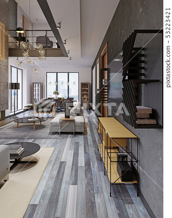 Modern Studio Apartment With A Second Floor In A Stock Illustration 53223421 Pixta
