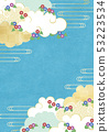 Illustration that feels the texture of Japanese paper Summer sky-clouds-morning glory 53223534