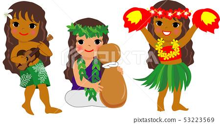 하와이안 악기를 연주하는 소녀 53223569