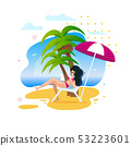 Woman Having Rest Along under Palms on Sunny Beach 53223601