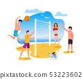 Summer Activities and Sport on Beach Flat Cartoon 53223602