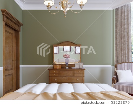 Wooden dresser with mirror and sliding lockers in 53223879
