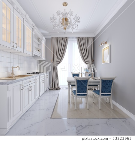 White kitchen with dining table in a classic 53223963