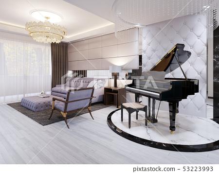 Beautiful piano in the luxury lounge. Purple sofa 53223993