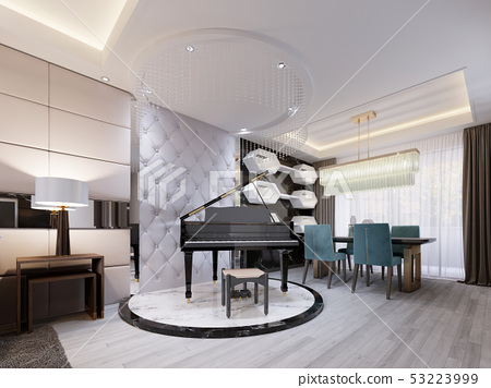 Black luxury piano on a marble podium, in a studio 53223999